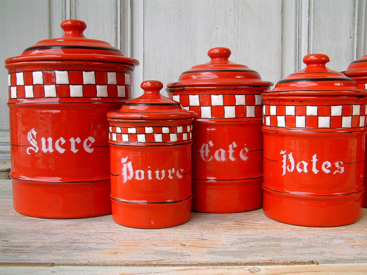 Vintage French Enamel Kitchen Canister Set. Red With White