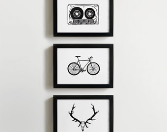Cassette, Bike and Antlers prints - classic art for men - man cave art,  gift for him