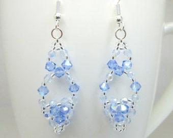 Light blue and silver swarovski elements earrings, blue jewelry, sapphire swarovski, elegant earrings, ER033