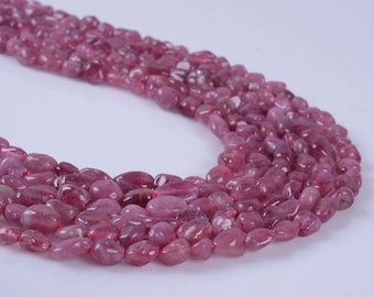 0728  Natural pink tourmaline pebble Chips loose gemstone beads 16""
