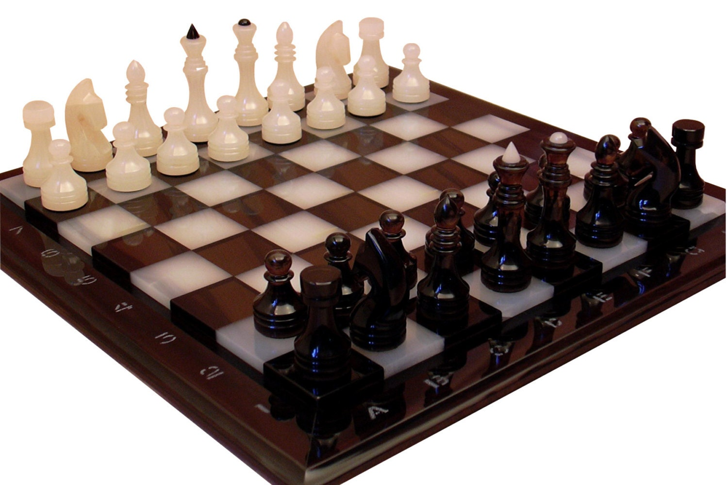 Natural onyx and obsidian chess set stone chess set table - Granite chess pieces ...