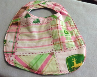 0-3 months pink John Deere  bib