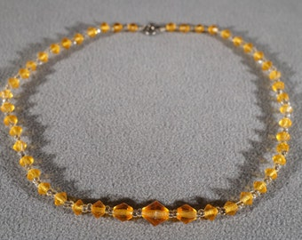 Vintage Art Deco Style Glass Stone Graduating Amber Knotted Necklace Jewelry    K