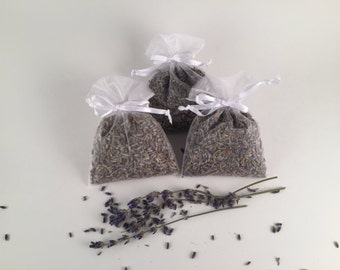 Three Lavender Filled Sachets - for your Dryer or Lingerie Drawer - 100% Dried Lavender Aromatherapy - Ready to Ship