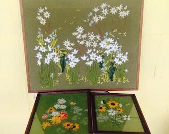 Vintage Wildflower Embroidery Trio