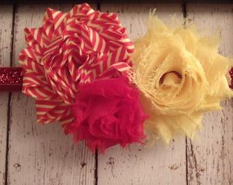 Glitter USC Trojans inspired Shabby Flower Headband/Hard Headband.... Newborn, Baby, Girls Photo Prop Bow