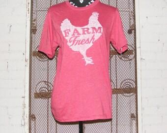 T Shirt Farm Fresh Chicken Hen Poultry Cotton Polyester Super Soft Vintage Style