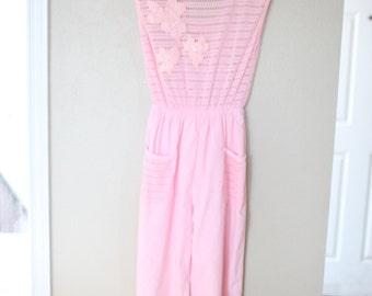 vintage pink floral crochet jumper romper