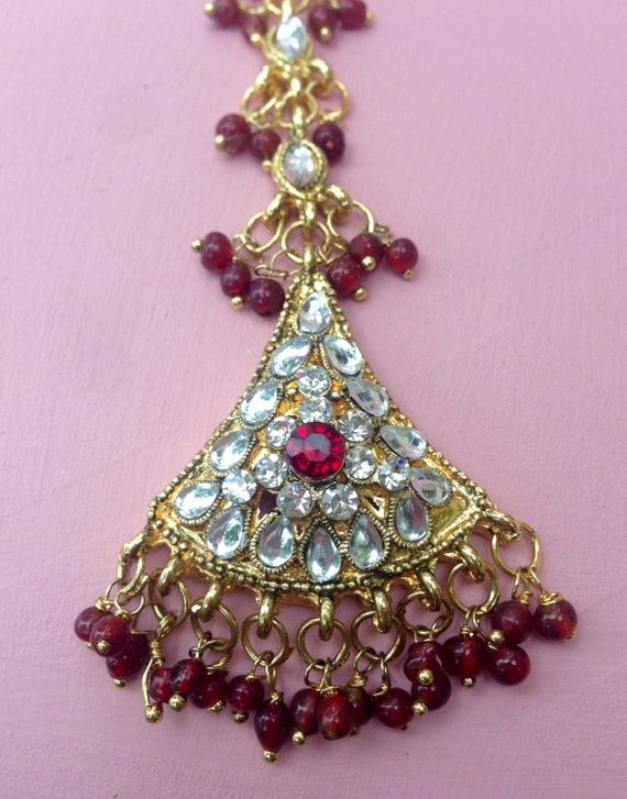 Ruby Red And Crystal Bohemian Indian Bindi Tikka Jewelry