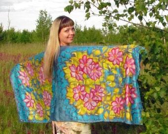 "Silk scarf,wrap sarong handpainted.Hand painted Silk Shawl 'Clematis""Hand painted silk flowers scarf.Scarf boho,Bohemian chic. Made to Order"