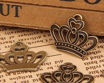 50 pcs of antique bronze crown charm pendant 23x18mm