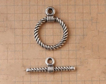 "20 sets of Antiqued silver  fancy toggle clasps  ""OT"" clasps  17.5mm"
