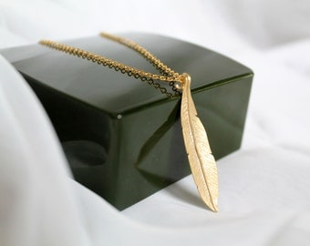 Gold Leaf Necklace, Tree Leaf, Long Chain Necklace, Simple, Bridesmaid gift