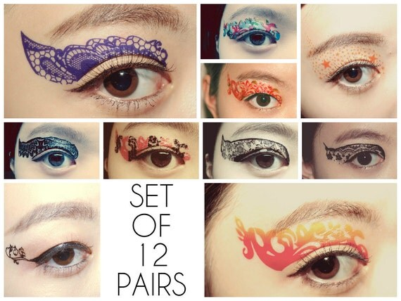 Stocking stuffer Christmas Set 12 Pairs Temporary Tattoo Eye Applique Holiday Makeup Eyeshadow Medusa bachelorette masquerade party Cosplay