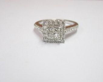 Stunning 14KT White Gold Diamond Engagement Ring 1/2 Carat Total Diamond Weight