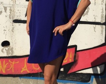 Plus Size Tunic/Asymmetrical Blue Tunic/Extravagant Mini  Dress/Party Tunic