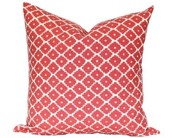 Schumacher Ziggurat Ruby - designer pillow cover - red coral - CHOOSE YOUR SIZE