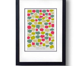 Personalised Coloured Cartoon Speech Bubble  Wedding Guest Book Alternative - A3 Print