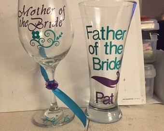 Personalized father and mother of the bride wedding wine and beer stein