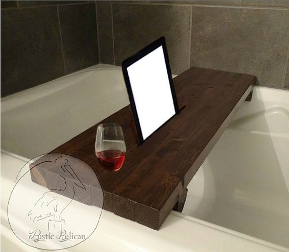 Rustic bathtub caddy ipad wood bathtub tray bath shelf for Bathroom tray decor