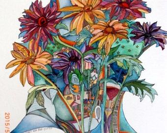 City of Flowers-PAINTING,WATERCOLOR ORIGINAL Painting Art,Ooak Watercolors Painting Watercolor Painting Original,Art  Collectibles Aquarelle