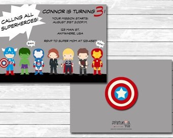 Printable little avengers boy birthday party invitation, front, back, custom, card, The Petunia Tree
