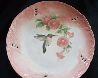 Hand Painted Hummingbird plate