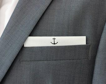Mouchoir de poche blanc style marin, Ancre imprimée blanc mouchoir de poche, broche fleur boutonnière, boutonnière rose, fluer, flèche infini