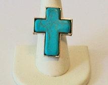 Large Turquoise Cross Shaped  Fashion Ring Adjustable Band
