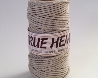 TRUE HEMP spool - NATURAL (no dye) 2mm 48lb - Hemp Creation 140feet/ 43m 100gram