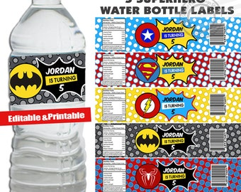 INSTANT DOWNLOAD Personalized Superhero Water Bottle Labels Super hero Water Bottle Labels Superhero Party Labels Water Bottle Wrappers