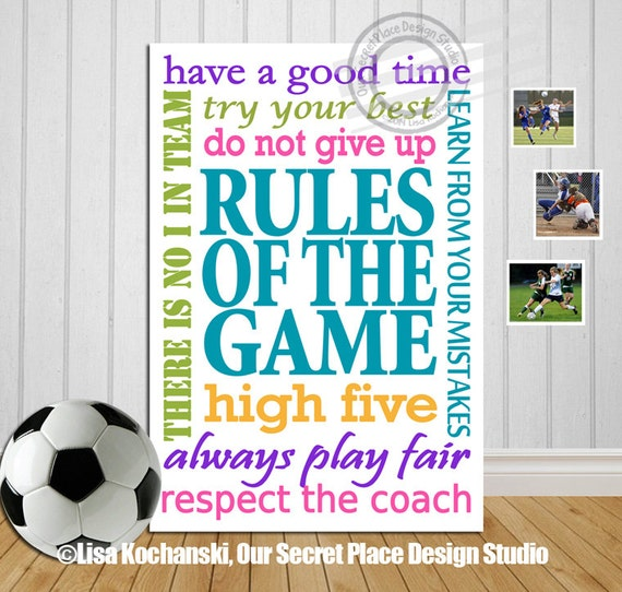 Rules Of The Game Inspirational Sports Decor By Oursecretplace
