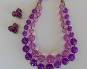Vintage Coro Necklace and Earrings - Purple Plastic Beads - 2 Strands
