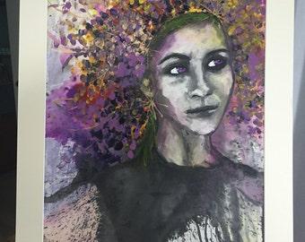 Original, Artwork, Unframed, Mixed Media, All New Large Mixed Media Painting - Purple Goddess