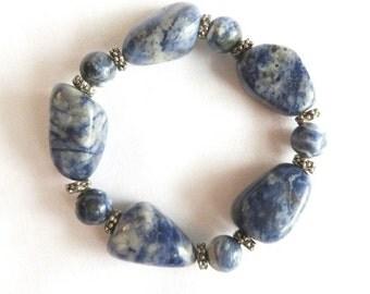 Vintage Marbled Blue Stone Bracelet, Chunky Stretch Bead Bracelet