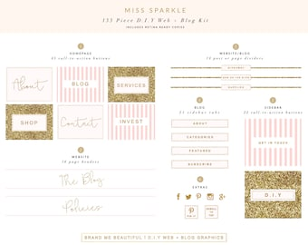 133 Piece Web + Blog Kit // Miss Sparkle Brand // Web Buttons, Blog Graphics, Social Media Icons & More // Instant Download