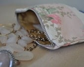 Striped Floral Zipper Pouch with Button Embellishments