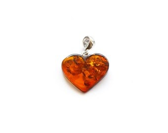 Cognac Dark Baltic amber heart pendant jewelry with silver, Baltic amber pendant, Heart pendant, Gift for Mom, Genuine amber - 4566