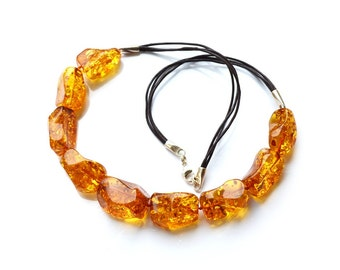 Necklace Baltic amber // Large beads amber necklace with leather // Natural Amber // Amber necklace with certificate from IAA // 1774