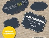 Photo Booth Signs - DIY Chalkboard signs for your party's photobooth! 2 different shapes!