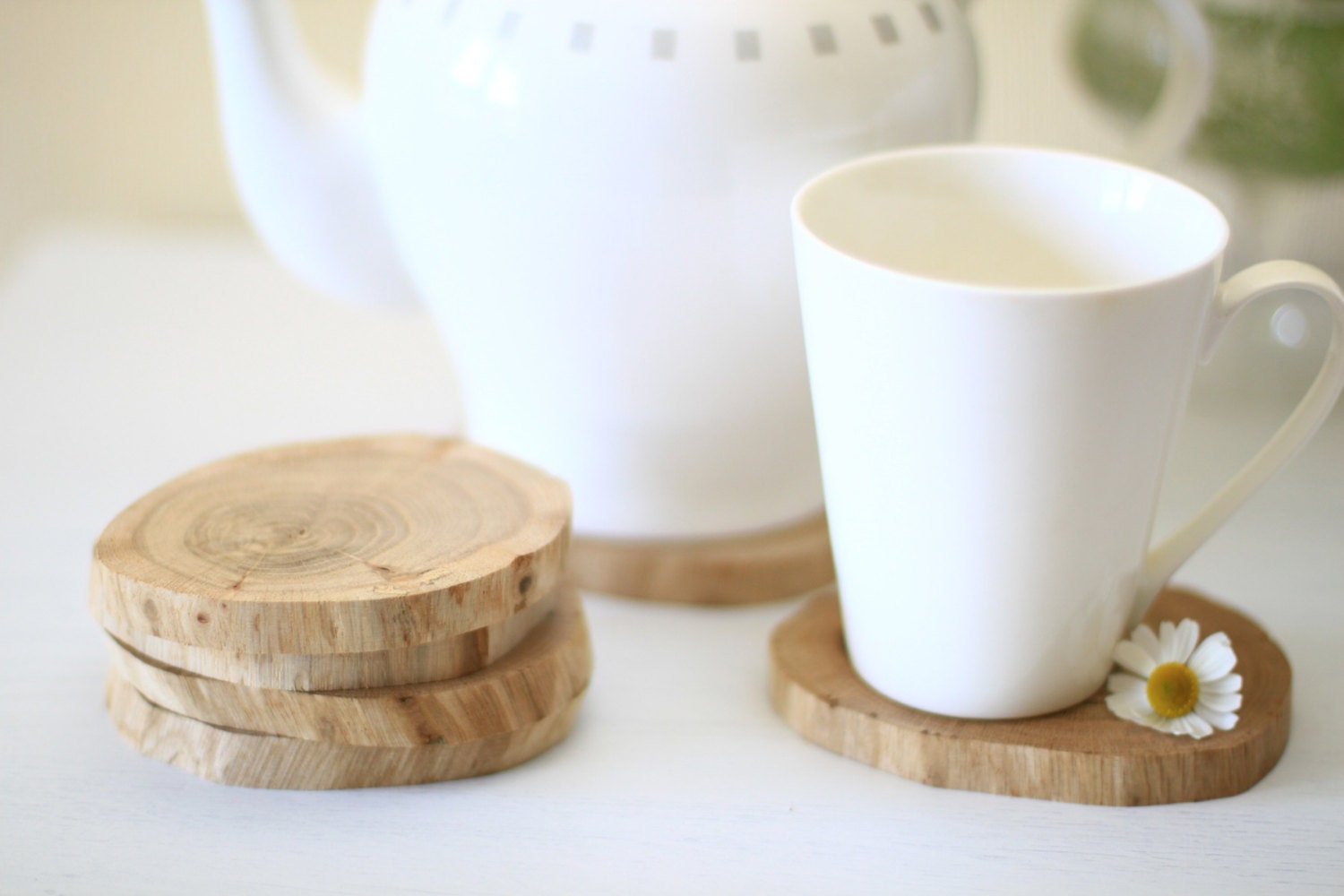 6 Peaces Wooden Oak Coasters Drink Coaster By Holeybox On Etsy