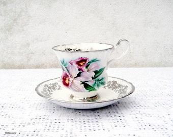 Vintage Windsor Bone China Made in England Flower Design Silver Gilt Cup and Saucer