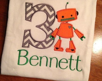 Robot appliqued birthday shirt