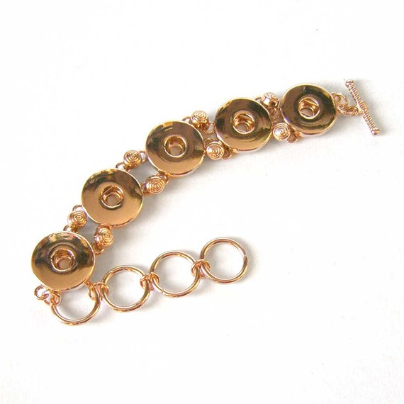 gold color snap charm bracelet by ogbeadshop on etsy