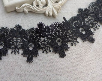 Black Lace Swirls Trim in Black for Altered Couture, Dresses, Jewelry, Sewing