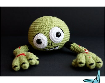 Zombie head.  Amigurumi crochet pattern. PDF file, zombie head, diy. ENG.