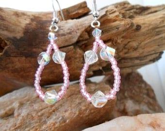 Handmade Beaded Earrings, Baby Pink Beaded Earrings, Swarovski Elements, Gift For Her, OOAK