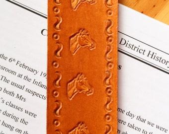 Horse Bookmark, Horses Head Bookmark, Hand Tooled Leather Bookmark, Horse Book Marker, Handmade Book Mark, Leather Marker, Unique Horse Gift