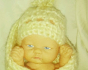 "Adorable 8"" Inafant/Newborn Doll in knit Hat Booties & Swadling Blanket - Great Gift for Travel"