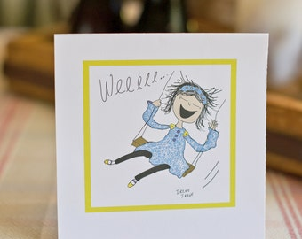 Funny Encouragement Card, Joy Card, Girl on a swing, Let your hair fly